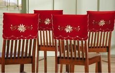 Ebay Uk Christmas Chair Covers Rolling Mat For Wood Floors Set Of 4 Elegance Embroidered Holiday Back