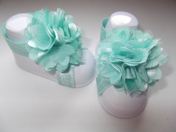 Aqua Satin and Mesh Flower Puff Barefoot by MaddieGraceBowtique