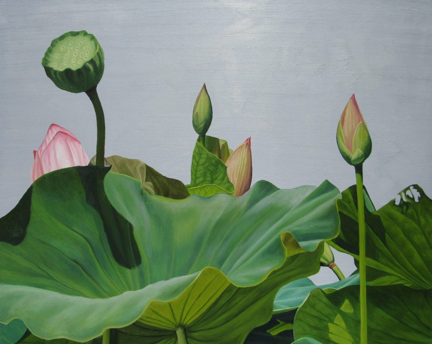 Frank dipietro lotus number two realist floral still life lotus number two realist floral still life painting of lotus leaves and stems izmirmasajfo