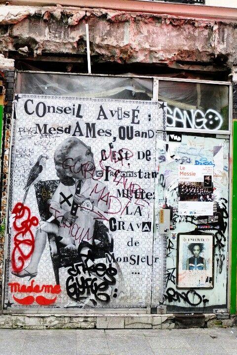 Paris - rue saint Denis - street art - madame moustache