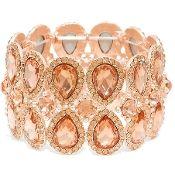 Peach Crystal Bracelet Elegant Wedding Formal Prom Jewelry