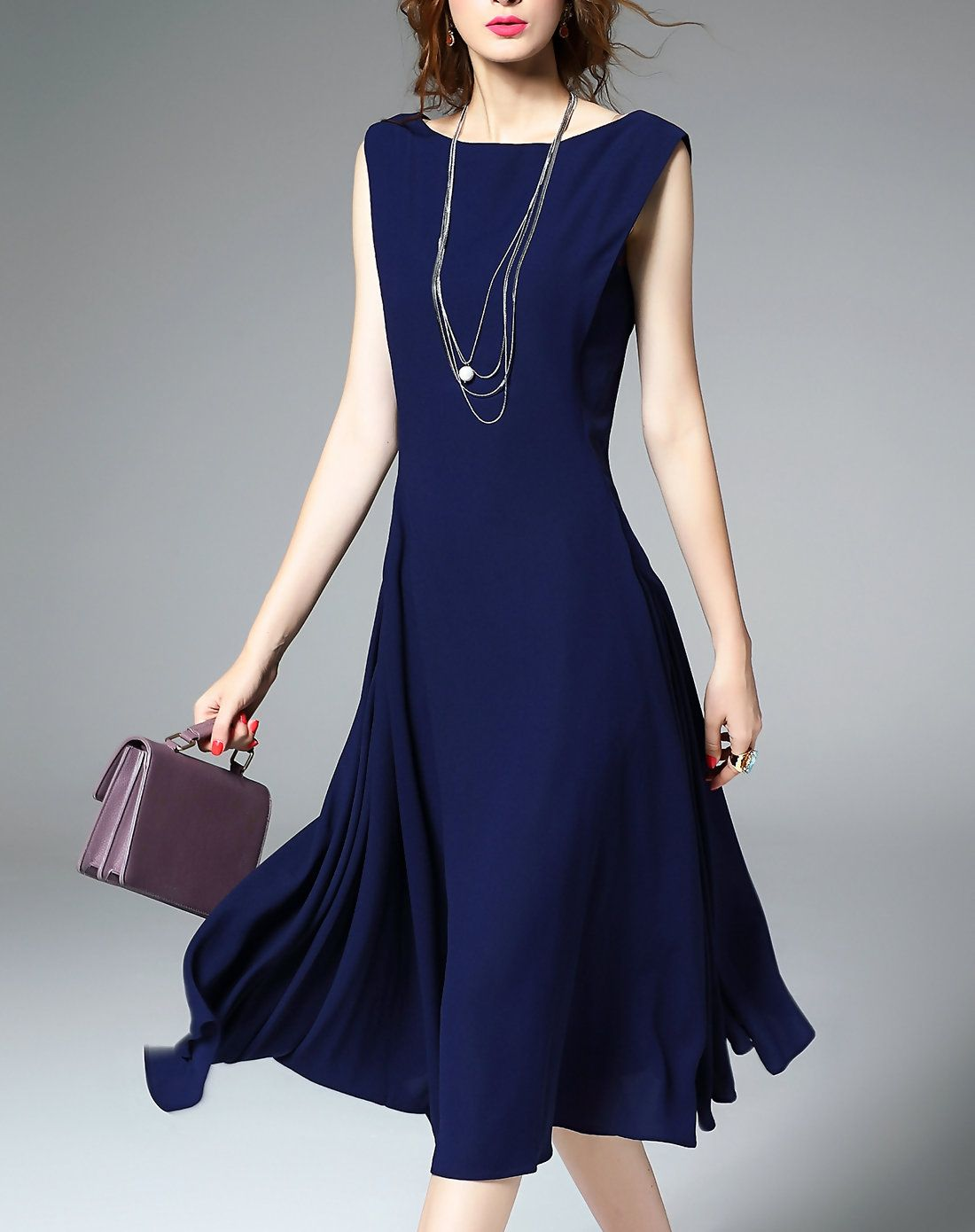 96d05f0896a6  AdoreWe  VIPme Skater Dresses - YEARNSANE Blue Bateau Neckline Fit   Flare Midi  Dress