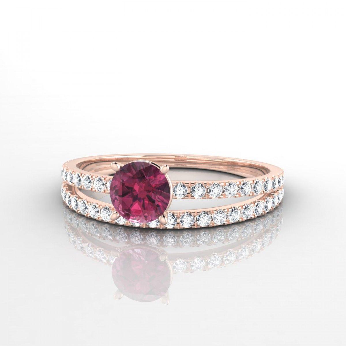 28e56e344ad La bague Adelaïde revisite avec éclat le traditionnel solitaire. Le corps  de cette bague diamant et Saphir Rose est constitué de deux anneaux pavés  de ...