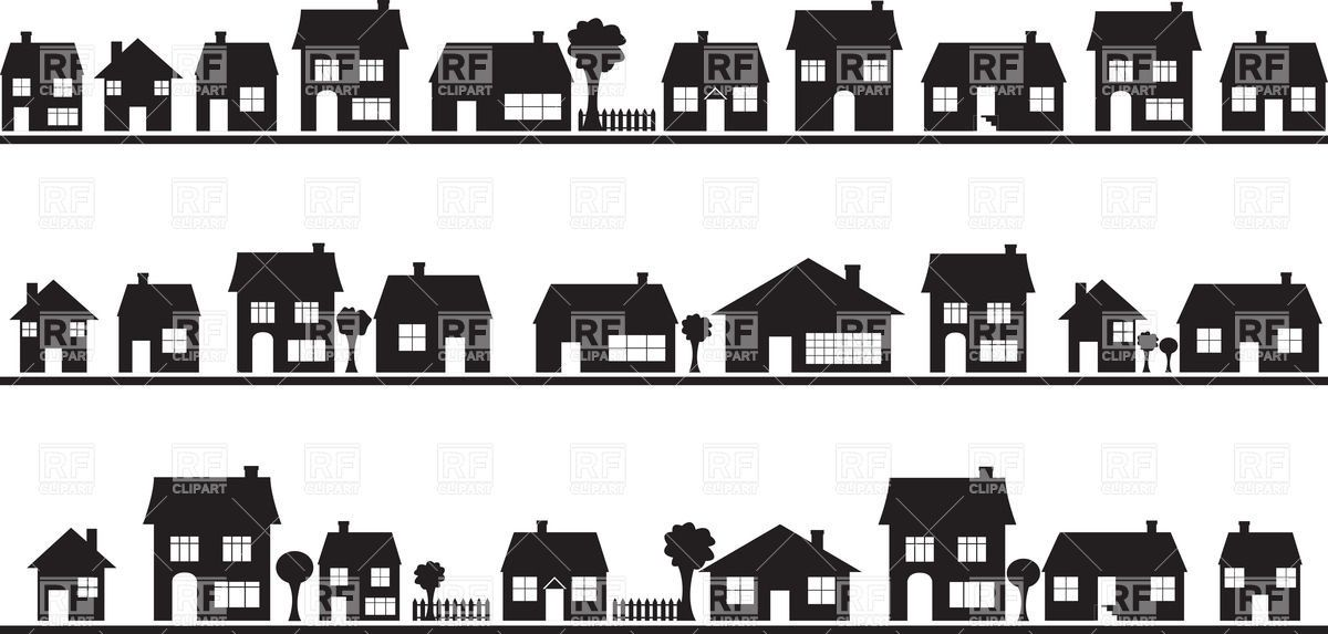 Neighbourhood Silhouettes Of Country Houses Architecture House Silhouette Silhouette Architecture Building Silhouette