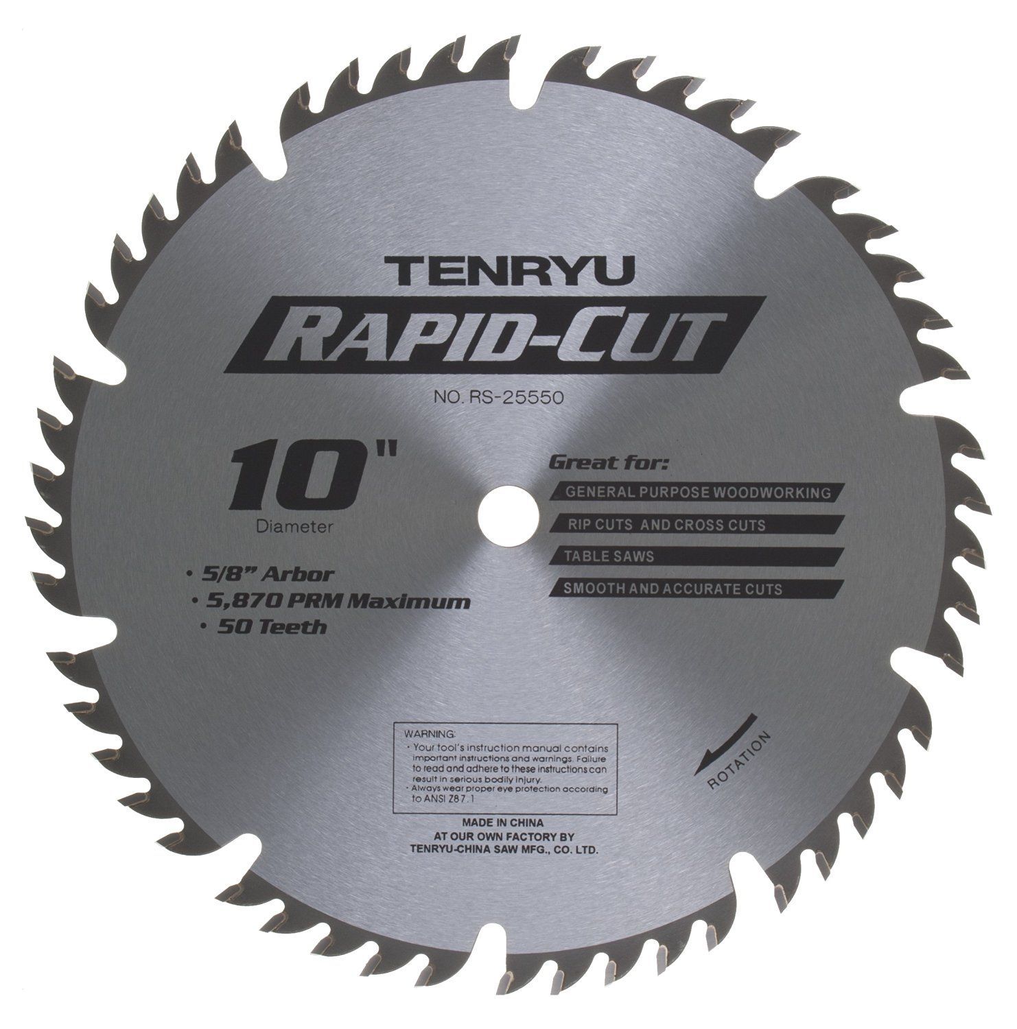 Tenryu Rs 25550 10 50 Tooth 5 8 Arbor All Purpose Wood Blade Click Image For More Details Table Saw Blades Circular Saw Blades Saw Blade