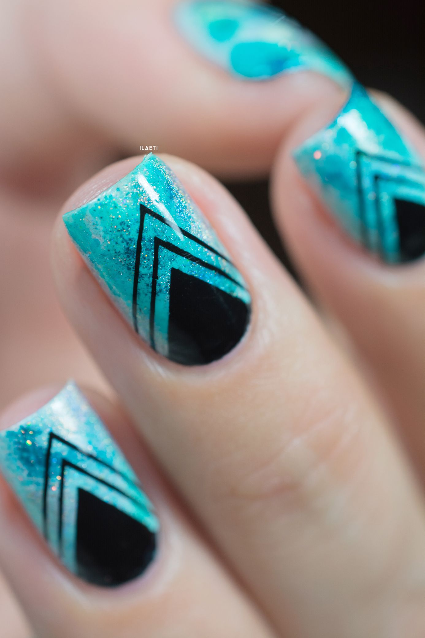 Nail art_teal sponging black stamping_05 | Am I Blue | Pinterest ...