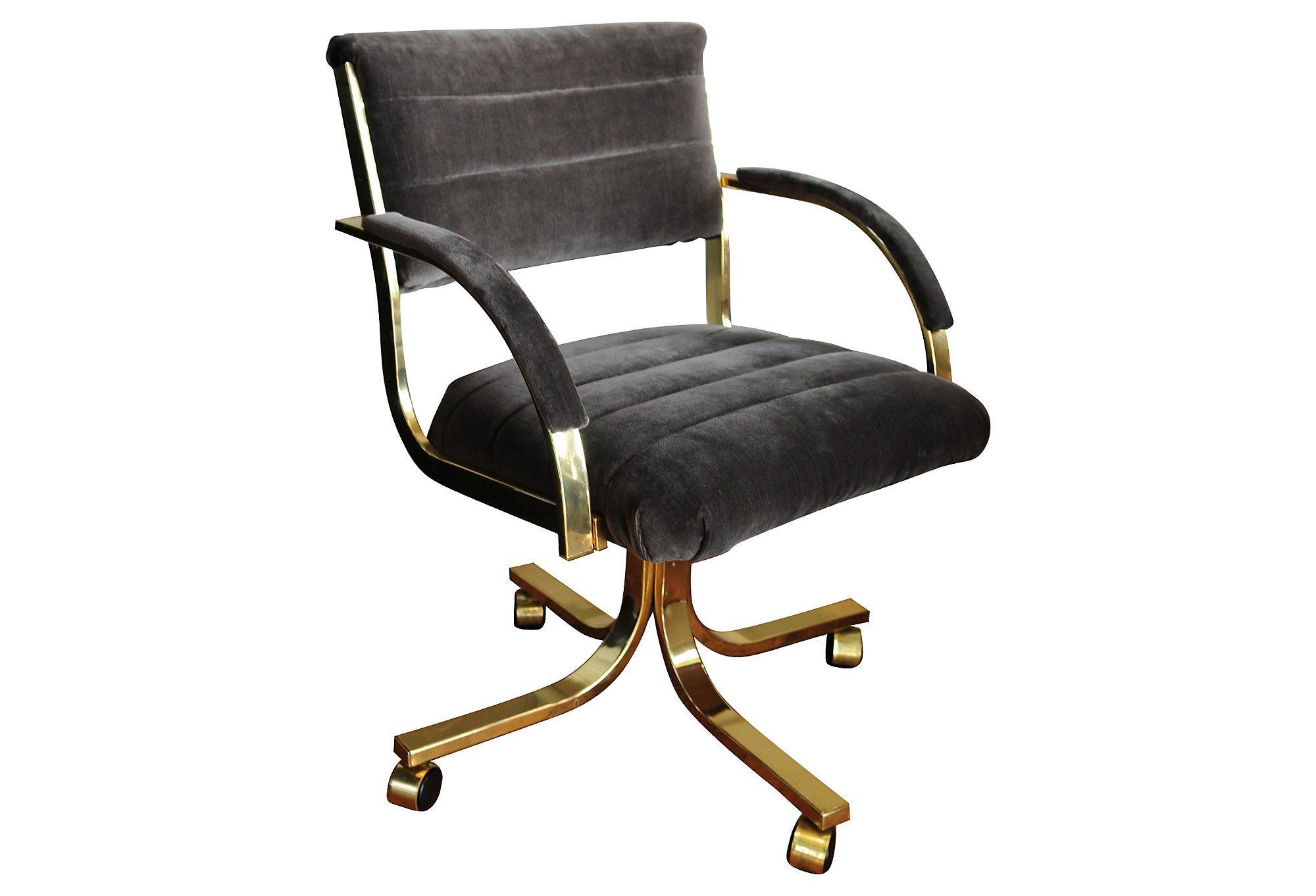 Vintage Brass Desk Chair w/ Gray Velvet Fabric Love the