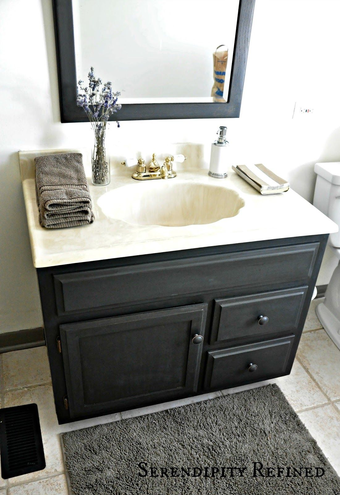 Serendipity Refined Blog How To Update Oak And Brass Bathroom - Can you spray paint bathroom fixtures