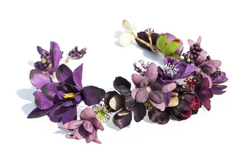 Purple Flowers Headpiece Fairy Flower Crown Bridal Hair Etsy Fairy Flower Crown Flower Headpiece Floral Accessories Hair