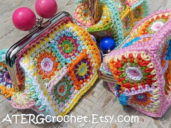Patron De Ganchillo Monedero Petite Cuadrados Por Atergcrochet - Monedero-crochet-patron