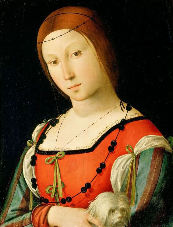 c. 1500-06. Lorenzo Costa, Portrait of a lady with a lapdog.