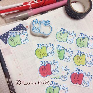 Tampon calendrier réalisé par LuLu Cube