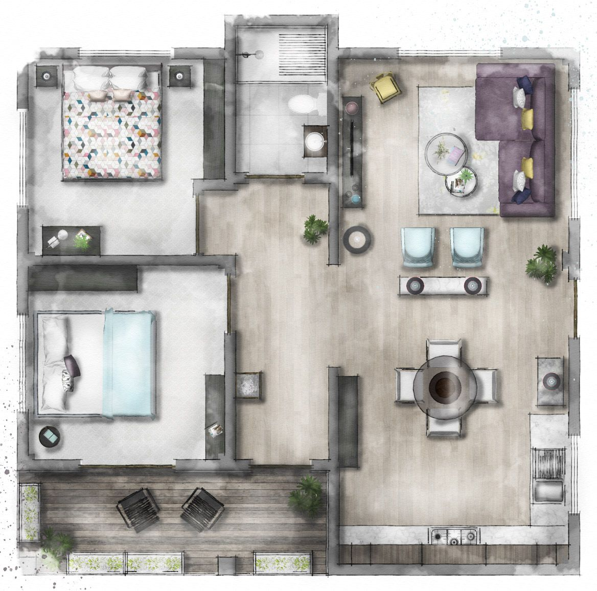 How To Create A Professional Floor Plan Rendered Floor Plan Interior Design Sketches Small House Decorating