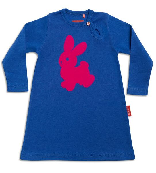 This adorable dress features a neon pink tactile flock bunny set against a striking blue backdrop. A fun edition to any little girls wardrobe and made using 100% organic cotton. This dress is soft and comfortable and suitable for day to day wear whilst combining style and energy.