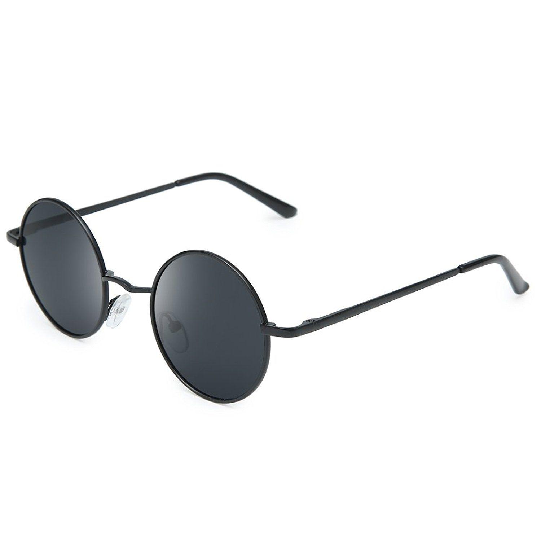 c0c87efcce Amazon.com  Joopin-Round Retro Polaroid Sunglasses Driving Polarized  Glasses Men Steampunk (Black