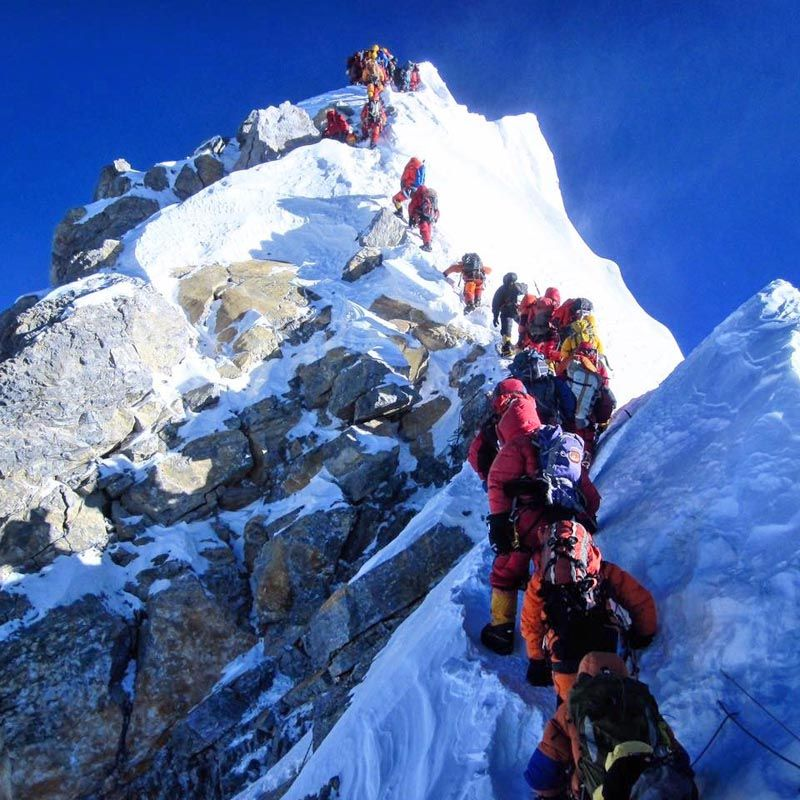 Climbers are seen heading to the top of Mt Everest in this ...