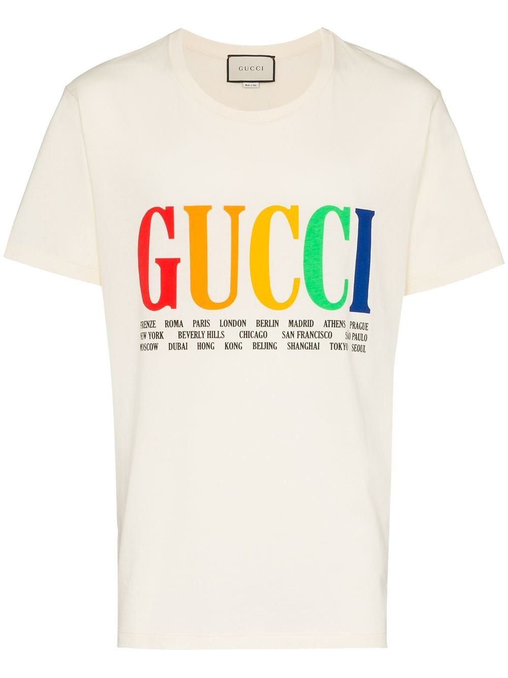 1b2c09bbf Gucci rainbow cities print cotton t shirt - White in 2019 | Products ...