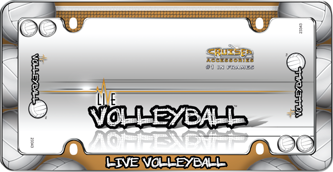 Live Volleyball, Chrome with fastener caps License Plate Frame ...