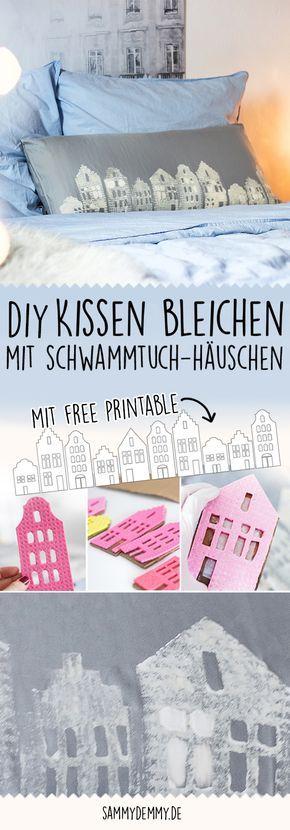 kissen selber bedrucken kissen bleichen kissen winterlich diy h uschen h uschen kulisse. Black Bedroom Furniture Sets. Home Design Ideas