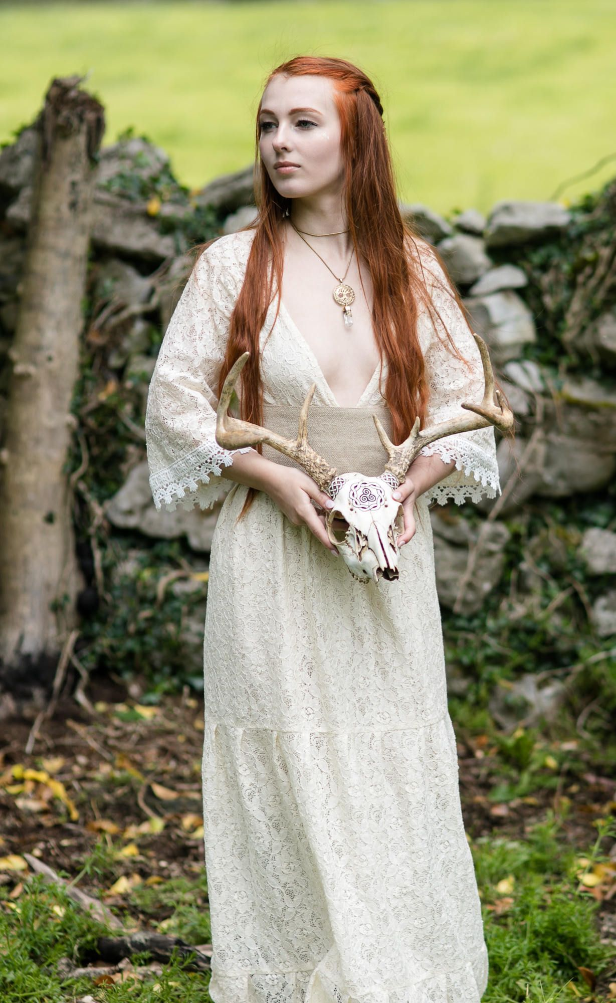 Celtic wedding dress  Divinty Lace wedding Dress Low plunge neckline Wedding Dress Sexy