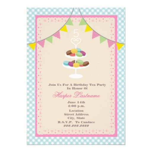 French Macarons Birthday Invitation Blue Gingham Macarons - Birthday invitation cards in french
