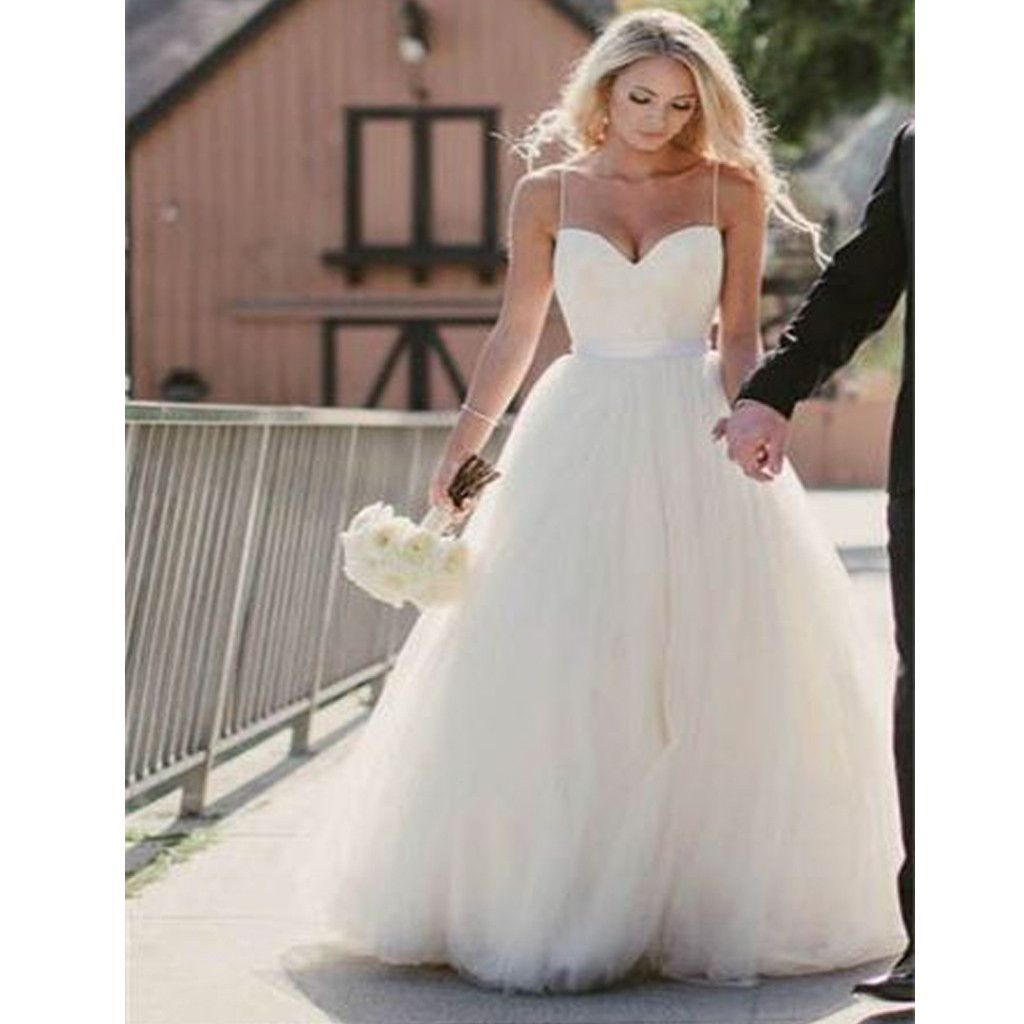 new spaghetti straps simple ball gown wedding dresses rg