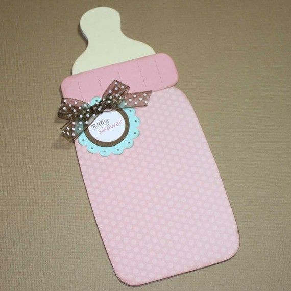 Items Similar To Baby Girl Shower Invitations Bottle Shaped Card Bear Custom Colors Set Of 12 On Etsy Baby Cards Baby Girl Cards New Baby Cards