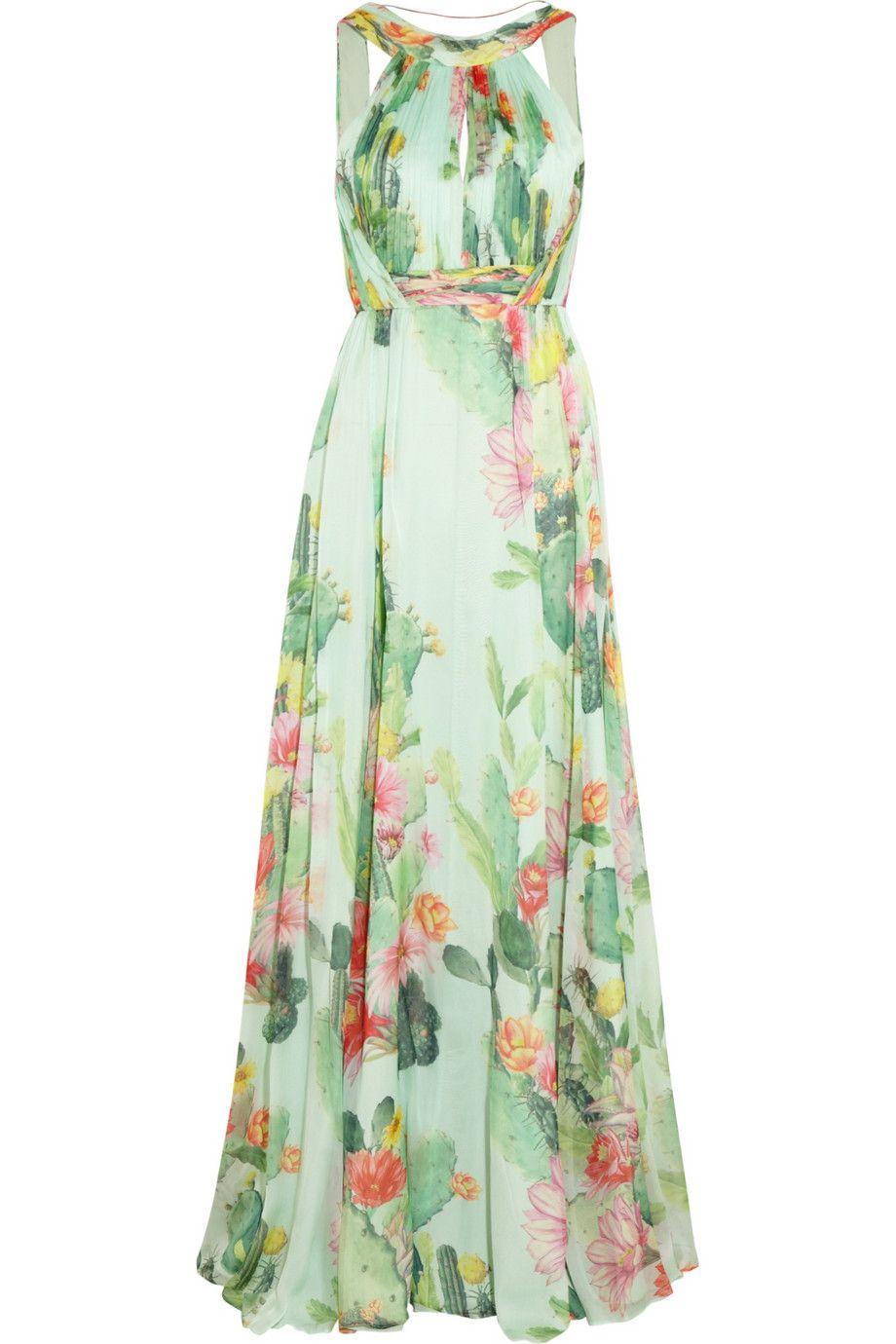 Matthew Williamson - Green Cactus Garden Printed Silk chiffon Gown - Lyst