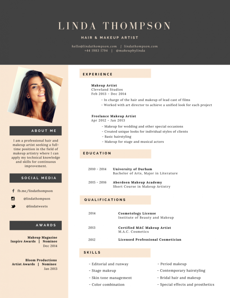 50 Most Professional Editable Resume Templates For Jobseekers Makeup Artist Resume Best Resume Template Artist Resume