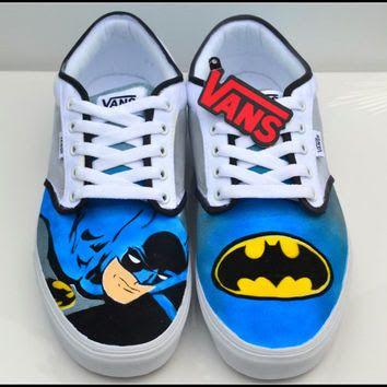 diy hand painted canvas shoes batman