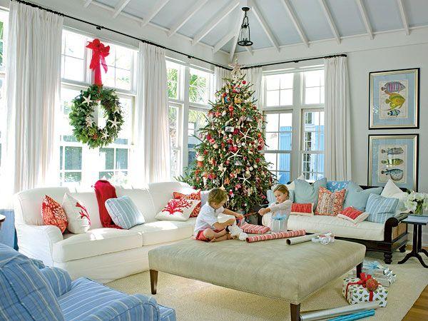 the beach - Christmas Living Room Decorating Ideas