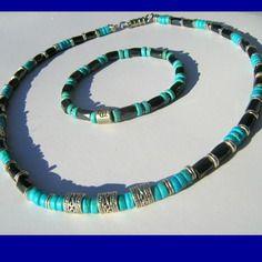 Parure homme mala en pierre de gemmes turquoise et hématite, tube  ornamentale argent d55ab2d24c83