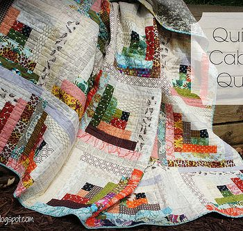 Scrappy Log Cabin Quilt With Low Volume Half And Saturated Prints On The Other Half Log Cabin Quilt Pattern Quilts Traditional Quilts