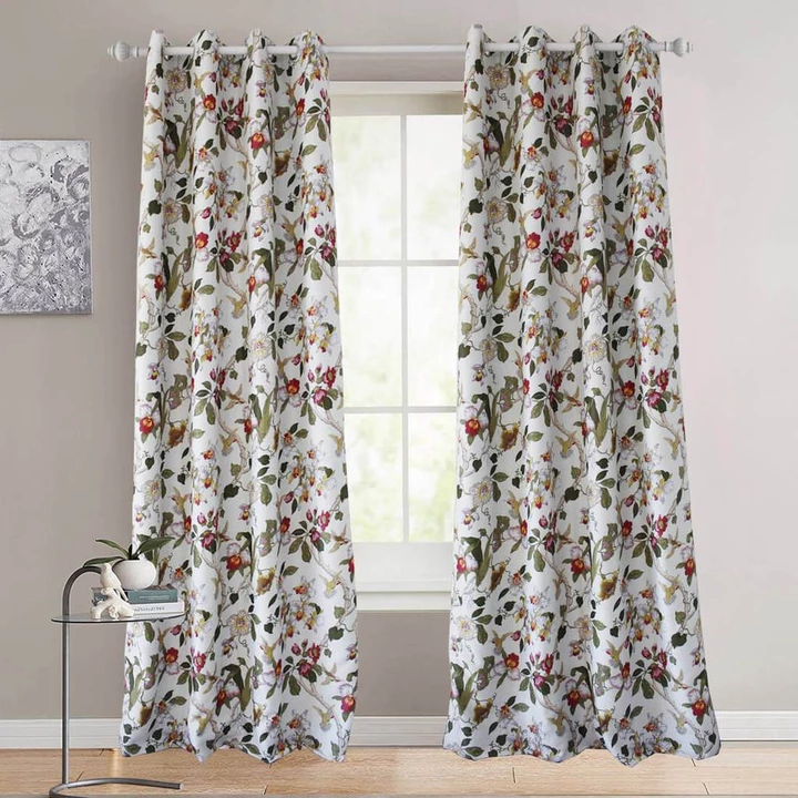 Red Flower Blackout Curtains Birds Drapes For Bedroom 1 Set Of 2 Panels Floral Curtains Drapes And Blinds Insulated Curtains