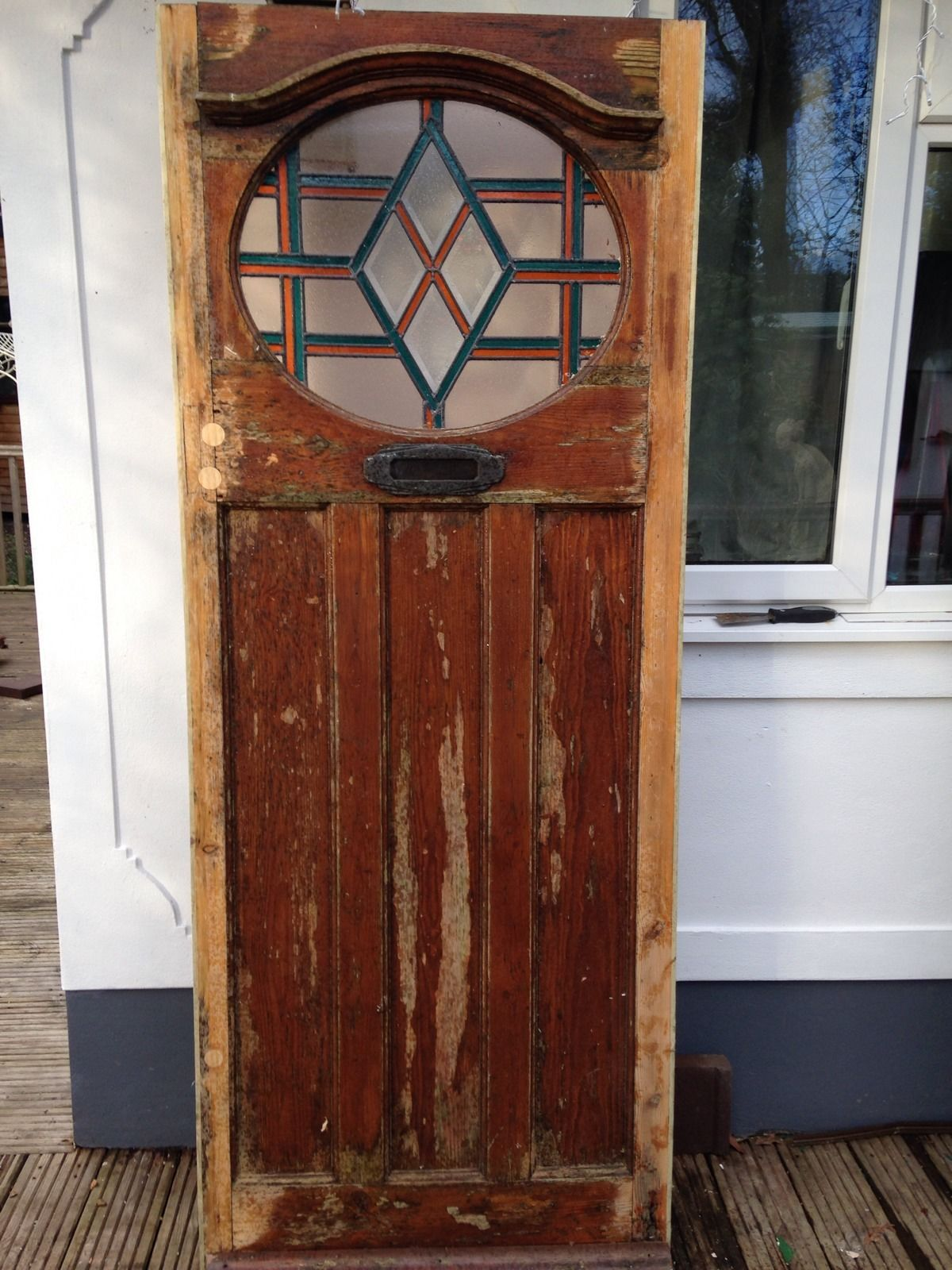 1930s lead light art deco stain glass front door wood for 1930s external door