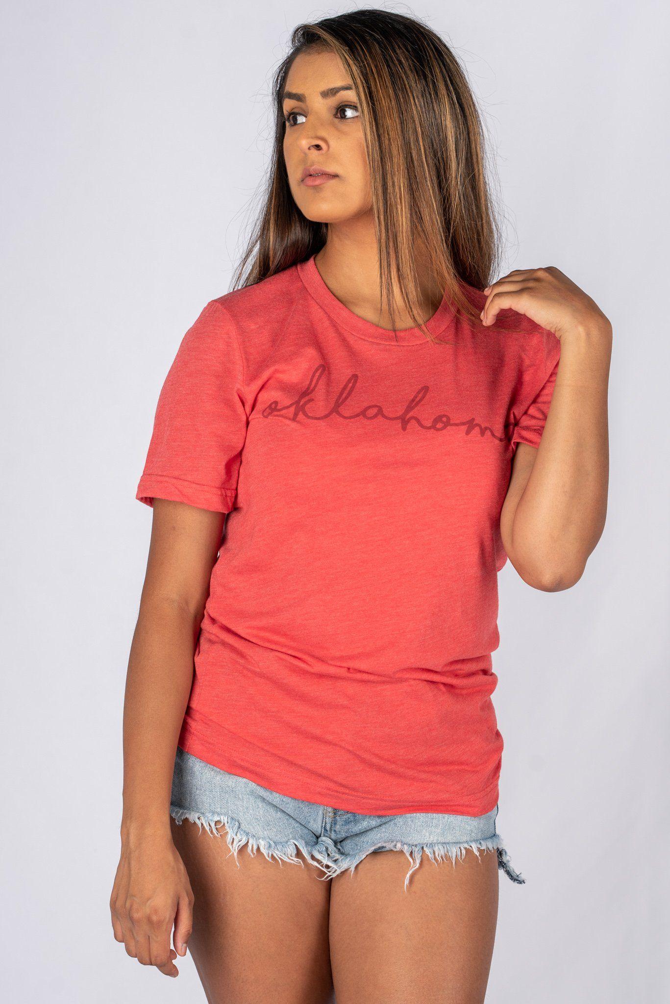 fc2209649c1 OU Oklahoma pride script unisex short sleeve t-shirt red