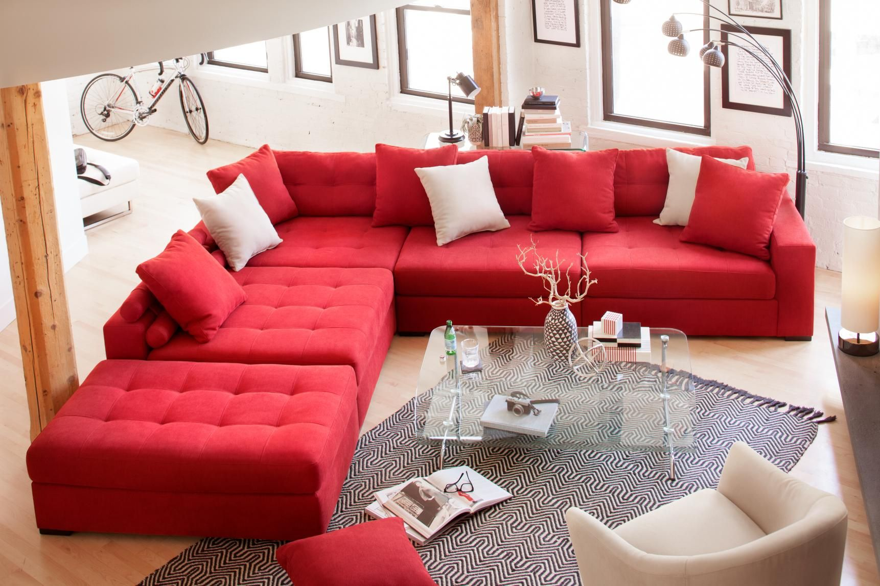 Durable Versatile And Most Importantly Big We Call It Big Red Our Venti Sectional I Red Couch Living Room Red Sofa Living Room Red Sectional Living Room #red #living #room #furniture #sets