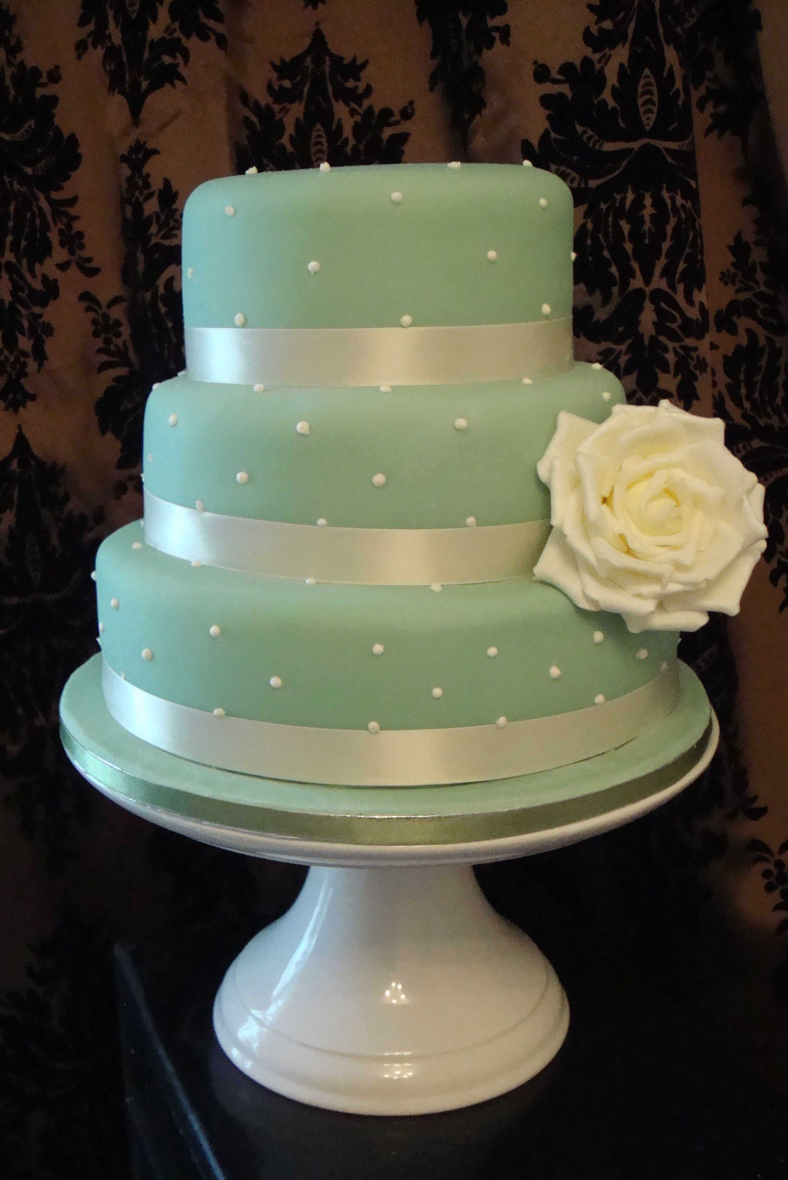 Wedding Cake Pearl and Vintage Sage Green