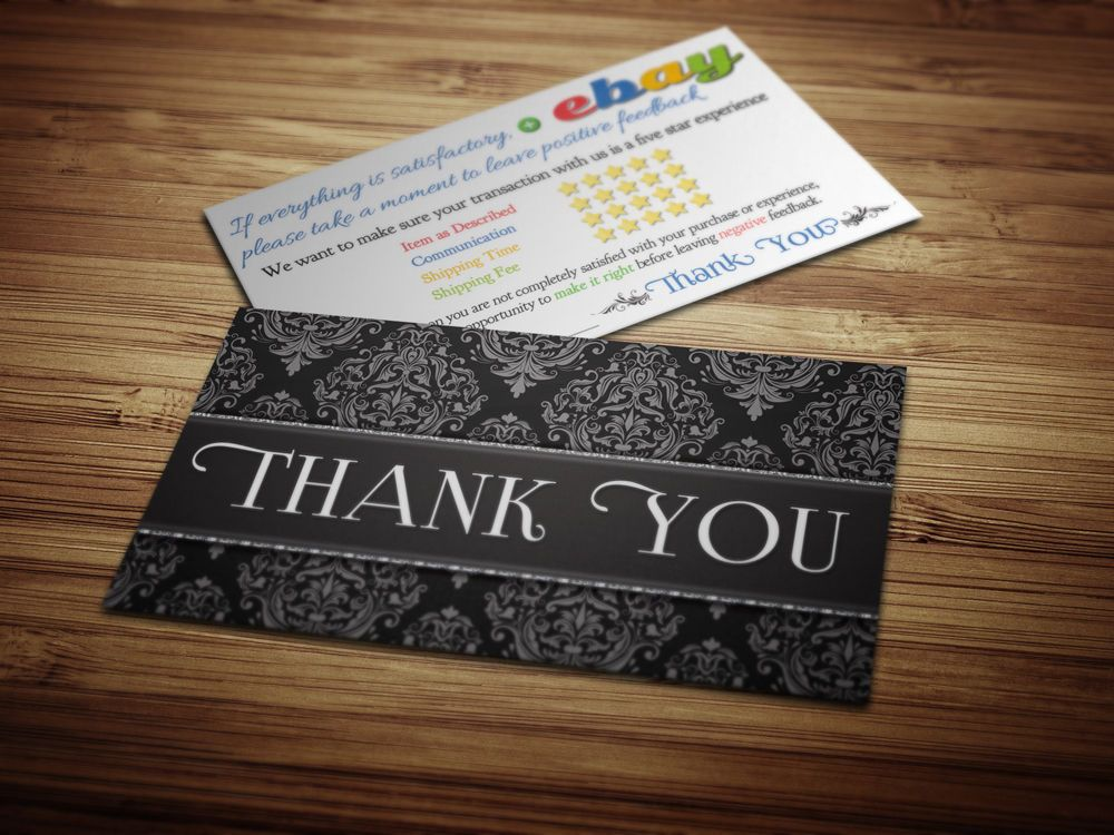 50 Thank You ebay Seller BUSINESS CARDS 5 Five Star Rating ELEGANT ...