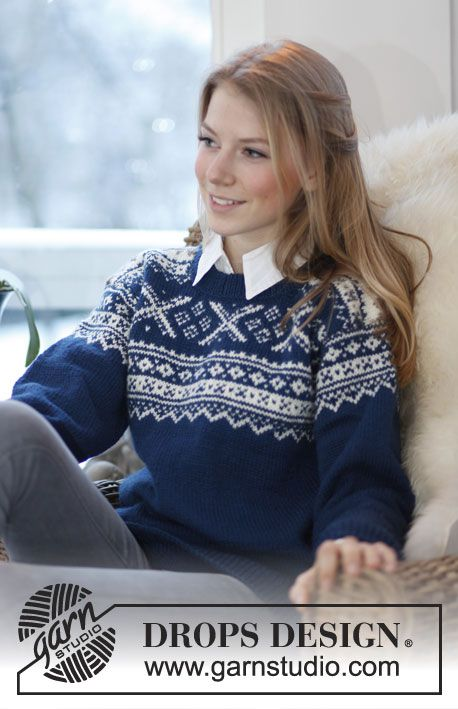 """Knitted DROPS jumper with Norwegian pattern in """"Karisma"""". Size: S ..."""