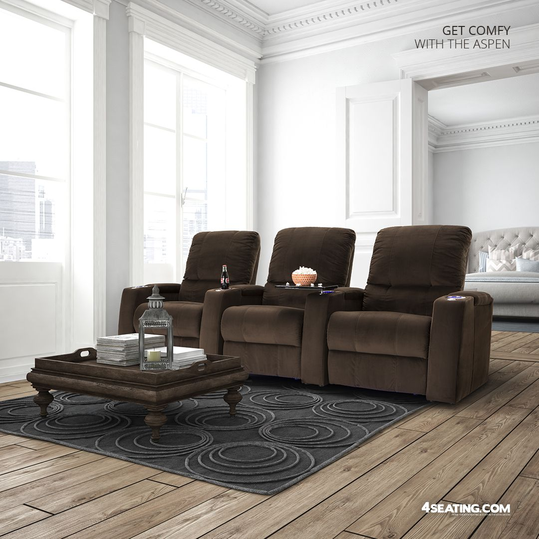 Cozy Home Theater: Seatcraft Aspen Fabric, Power Or Manual Recline, Black