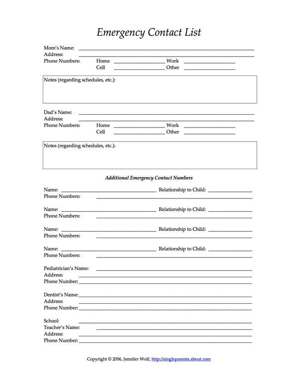4 Free Printable Forms For Single Parents Daycare Forms Emergency Contact Form Starting A Daycare