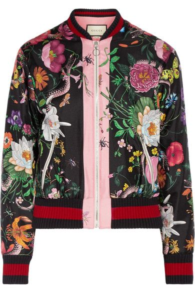43ecdc156e9f7 GUCCI Printed silk-satin bomber jacket.  gucci  cloth  jackets ...