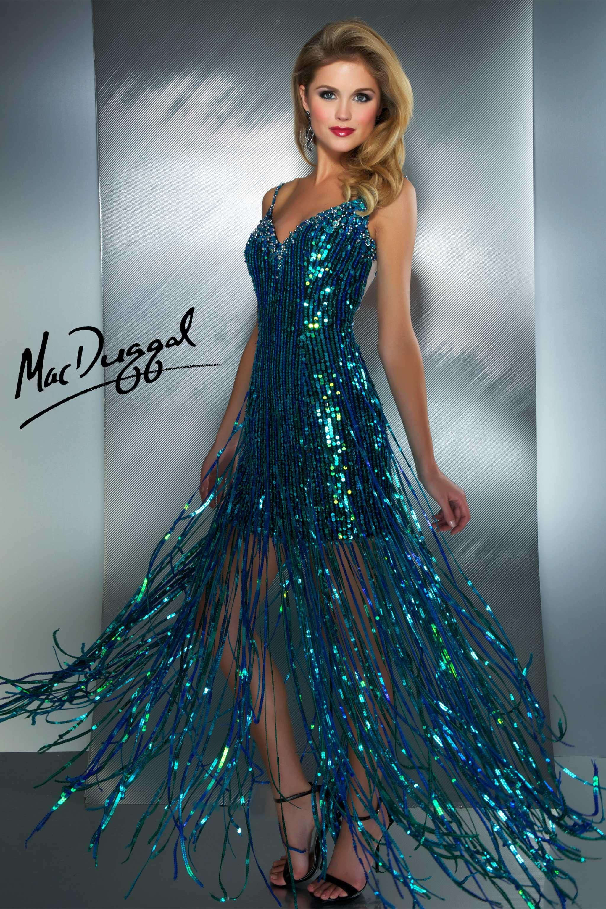Prom gown (style 85096M) has an all sequin fitted mini with shiny ...