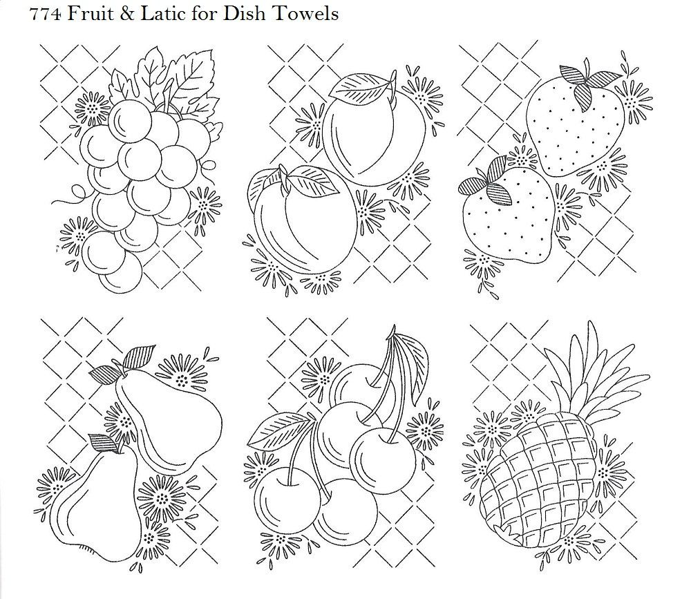 Vtg Hand Embroidery 774 Fruit in Lattice for Dish Towels Strawberry ...
