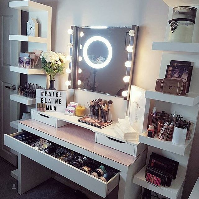 @paigeelainemua Mixing It Up And Creating Another Glam Beauty Space  Furniture Used   IKEA Malm Dressing Table With The Alex Add On Drawer On  Top And Lark ...