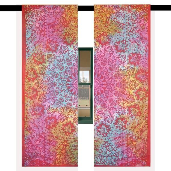 Tie Dye Star Mandala Window Hanging Bohemian 2 Panel Window Curtain Set Balcony Curtain Door Drapes