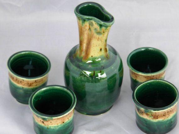 Emerald green and cappaccino mint sake set by MarkCampbellCeramics, $50.00