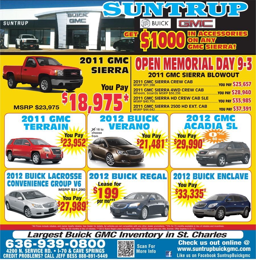 Suntrup Buick Gmc Specials For 5 27 Buick Gmc Buick Gmc