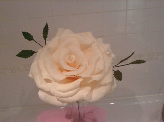 Giant paper rose in ivory #crepepaperroses
